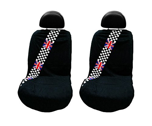 Seat Armour -Black Towel Seat Covers with British Checkered Flag -Pair (British Flag Car Seat Covers compare prices)