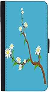 Snoogg White Flowers Branches Graphic Snap On Hard Back Leather + Pc Flip Cov...