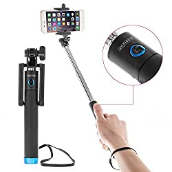 Mini Selfie Stick with Aux Cable, No Charging, No Bluetooth Required (Assorted Colour) for Apple iPhone SE 16GB PHONES