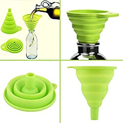 House of Quirk High Quality 1pc New Mini Silicone Gel Foldable Collapsible Style Funnel Hopper Kitchen cooking tools Silicone Foldable Funnel Random Colors Mini Silicone Collapsible Style Funnel Folding Portable Funnels (ASSORTED COLOR WILL BE SEND)