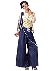 Women's Cream Embroidered Net Semi Stitched Salwar Suit