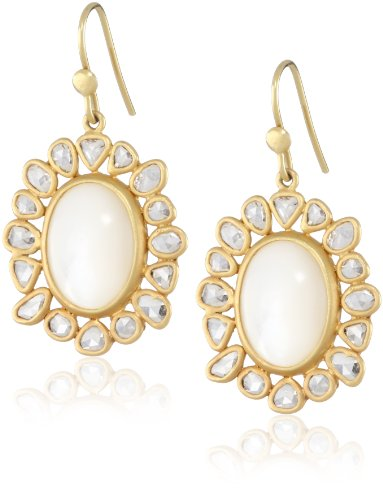 Lauren Harper Collection Over the Moon 18k Gold, Mother-Of-Pearl and Champagne Rose Cut Diamond Oval Earrings