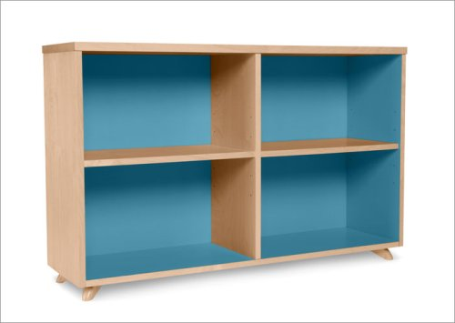 True Modern Low Bookcase in Cool Blue