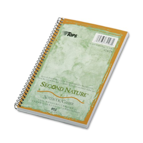 TOPS Second Nature Notebook, Recycled, 5 x 8 Inches, Narrow Rule, 80 Sheets per Book, Green Cover (74108) (Tops Notebook compare prices)
