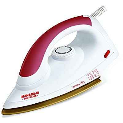 Maharaja Whiteline Easio DLX 1000-Watt Dry Iron (White and Red)