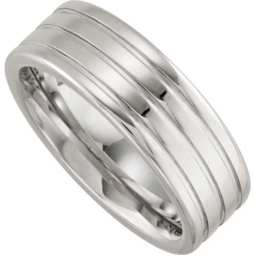 Cobalt Chrome, Grooved Polished Wedding Band (sz 10)