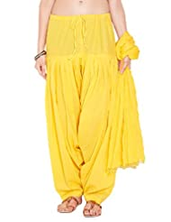 Stylenmart Ladies Yellow Cotton Regular Fit With Dupatta Dupatta Patiala Set
