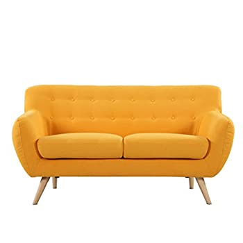 Mid Century Modern Style Sofa / Love Seat Red, Grey, Yellow, Blue - 2 Seat, 3 Seat (Yellow, 2 Seater)