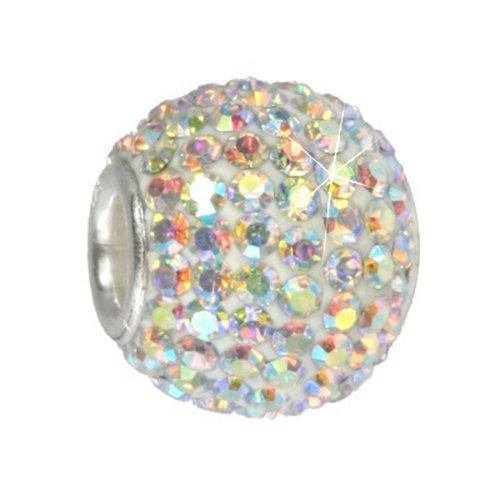 SilberDream Glitter Bead Swarowski Elements white polar light, 925 Sterling Silver Bead, for Bead Bracelet, Necklace or Earring GSB101