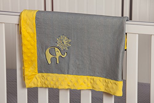 Yellow and Grey Elephant Embroidered Minky Dot Blanket