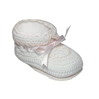 Tic Tac Toe Crochet Bootie with Ribbon Trim - White/Pink, 0-6 Months