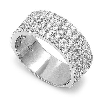 Rhodium Plated Silver Pave Set Cz Eternity Band (Size 6 - 10) - Size 7
