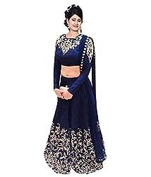 Khazanakart Designer Blue Color Banglori Fabric Un-stitched Lehenga Choli With Chiffon Dupatta Material.