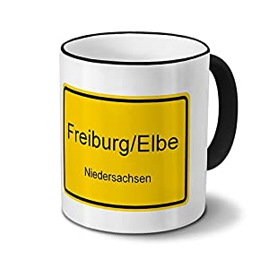 Städtetasse Freiburg/Elbe - Design Ortsschild - Stadt-Tasse, Kaffeebecher, City-Mug, Becher, Kaffeetasse - Farbe Schwarz