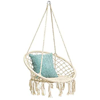 Hammock Swing Chair for 2-16 Years Old Kids,Handmade Knitted Macrame Hanging Swing Chair for Indoor,Bedroom,Yard,Garden- 230 Pound Capacity