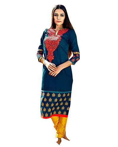 Patch Thread Embroidered Faux Cotton Semi Party Wear Teal Green Colour Kurtas/Kurtis K-192