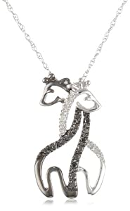 XPY 10k Gold Black and White Giraffe Couple Diamond Pendant Necklace, 18