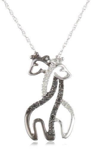 XPY 10k White Gold Black and White Giraffe Couple
