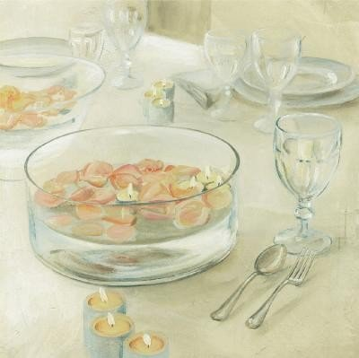 Table Setting With Candles by David Col . Art PRINT Poster 16.00 X 16.00