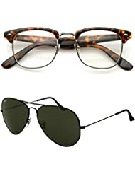 Redix Traditional New Combo Tiger Frame Transparent Clubmaster And Black Aviator Sunglasses For Unisex