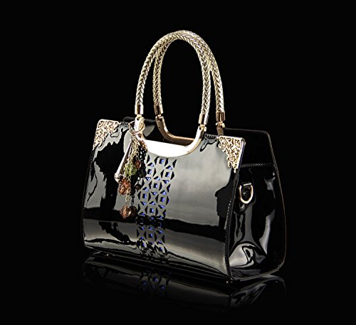 Women love the new brand bags fashion handbags patent leather hollow carved diagonal Ms. portable shoulder bag wholesale