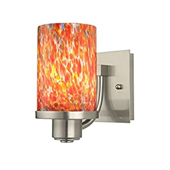 Contemporary Art Glass Wall Sconces : Art Glass Modern Wall Sconce with Cylinder Shade - - Amazon.com
