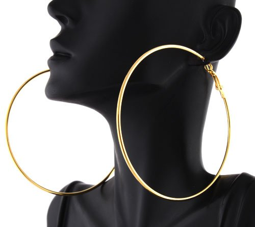 2 Pairs of Ladies Gold 3 Inch Hoop Earrings