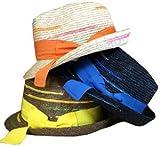 【SHIGEMATSU/シゲマツ】麦ブレードカラフル中折れハット ブラウン 299F7084 57.5cm レディース 帽子