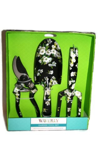 waverly-floral-print-garden-tool-set-pruning-shears-trowel-cultivator-black-with-white-flowers