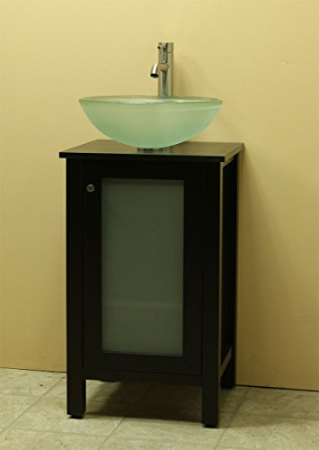 Elegant Windbay Solid Wood Bathroom Vanity Set with Black Quartz Stone Tempered Glass Vessel Sink and
