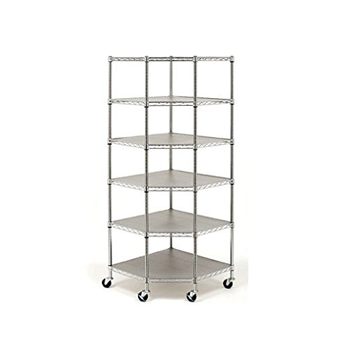Seville Classics 6 Shelf Corner Shelving System with Wheels, NSF Listed