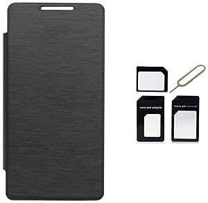 Tidel Black Durable Premium Flip Cover Case For Micromax Canvas Play Q355 WITH Micro /Nano SIM Adapter