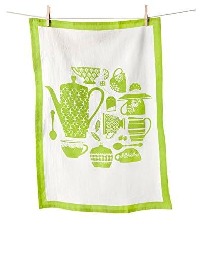 KAF Home Teatime Flour Sack Towel, White/Green