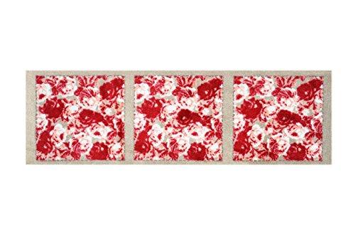 Lifestyle-Mat 1502 con Rose quadrati tappeto läufer, lavabile e antiscivolo, Microfibra, Rosso/beige, 50x150cm