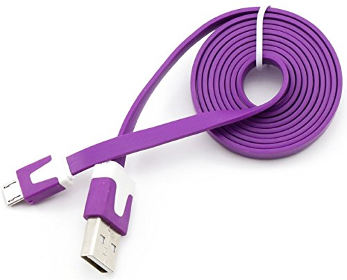 "Mylife Bright Purple + White {Solid Flat Noodle Design} 6' Feet (1.8 Meter) Quick Charge Usb 2.0 Micro Usb To Usb Data Sync Cord For Phones, Cameras, Tablets And Gps Devices ""See Compatibility"" (Durable Rubber Coat) front-115743"
