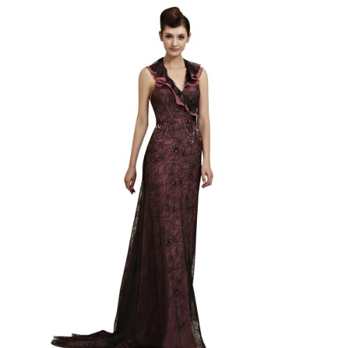 CharliesBridal Black Lace Backless V-Neck Sweep Train Evening Gown - L - Black and Pink