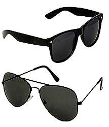 Shara UV Protected Aviator and wayfarer unisex sunglasses set of 2 combo pack (SHA/SUNGLASSES/AWBK/S|59|Black lens)