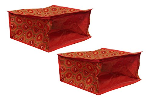 Belomoda red bandhani Saree cover bag for 5 saree - PACK OF 2 with one side bandhani with fabric material  available at amazon for Rs.209
