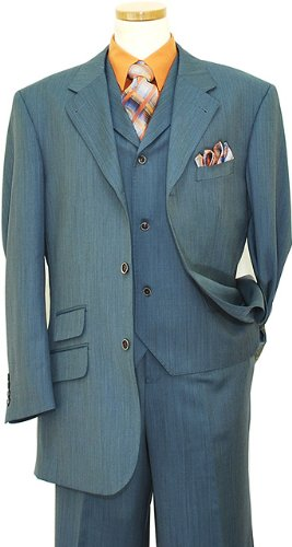 Tayion Platinum Collection Slate Blue Super 140'S Extra Fine Wool Vested Suit LZ80012 (US 44L/Euro 54 - 38 in. Waist)