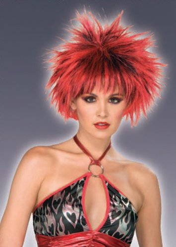 80's Spiked Punk Wig Red / Black