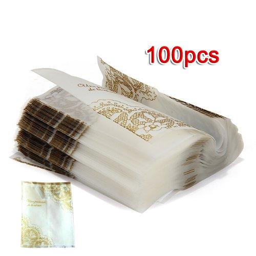 Gleader 100pcs Sachet Pochette Sac Dentelle Dore de Bonbons Biscuits Cadeau