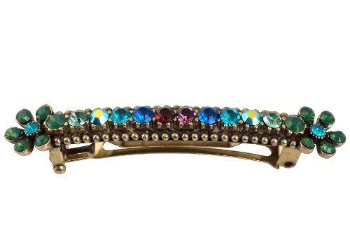 Michal Negrin Hair Brooch with Flowers, Green and Multicolor Swarovski Crystals - Very Feminine, Amazing On