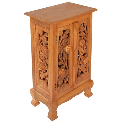 Exp 32-Inch Handmade Vintage Roses Storage Cabinet/End Table, Natural Brown front-270838