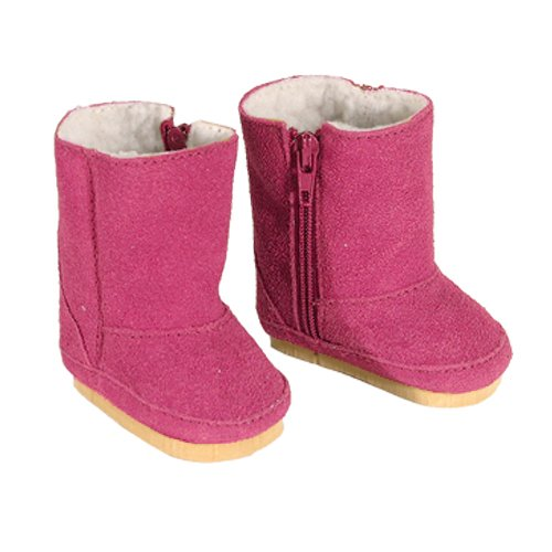 Doll Boots in Hot Pink Suede, Doll Shoes Fits 18 Inch American Girl Dolls, Hot Pink Ewe Boots - 1