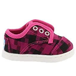 Toms Tiny Paseos Magenta Houndstooth Shoes 2T