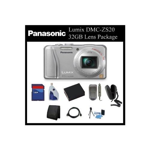 Panasonic Lumix DMC-ZS20 Digital Camera (Silver) - DMC-ZS20K - 32GB Point & Shoot Package