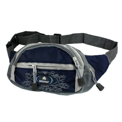 Men Belt Adjustable Flower Zippered Blue Gray Nylon Waist Pack Bag