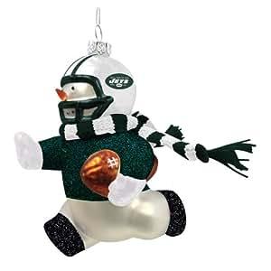 New York Jets Glass Snowman Player Christmas Ornament