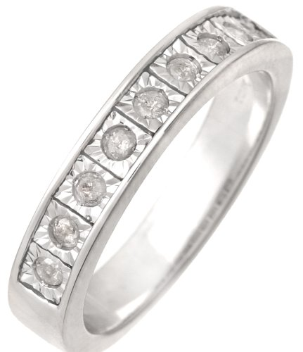 Stunning 9 ct White Gold Women Channel Set Diamond Ring Brilliant Cut 0.25 Carat H-I1