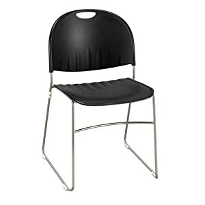 Polypropylene Stack Chair with Sled Base Black Shell/Chrome Finish